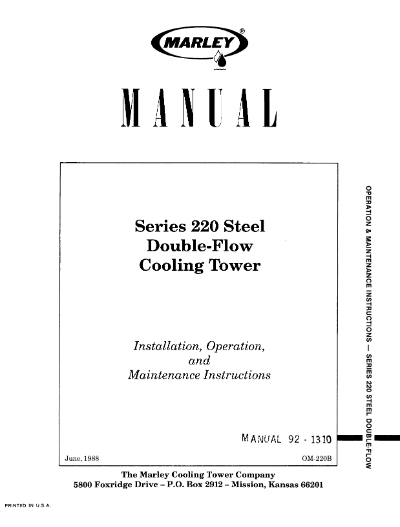 Marley Series 220 Steel Double-Flow User Manual – Non Current