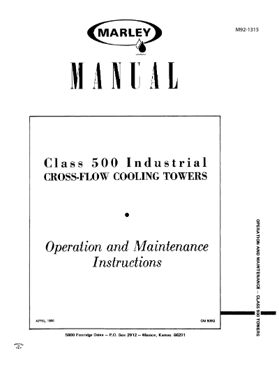 Class 500 Crossflow Cooling Tower User Manual – Non Current