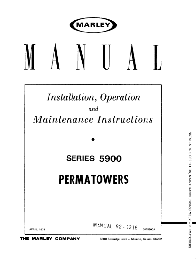 Marley Series 5900 Permatower User Manual – Non Current