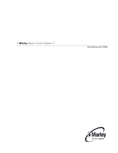 Marley Cooling Tower Basic Control System Manual – Non Current