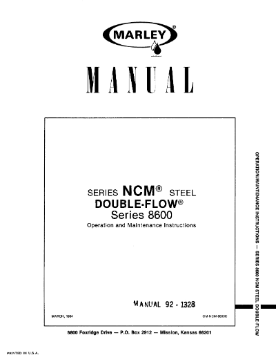 Marley Series 8600 NCM User Manual – Non Current