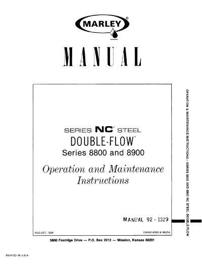 Marley Series 8800 NC and 8900 NC User Manual – Non Current