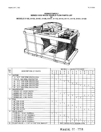 Marley Series 51000 Permatower II Wood Double-Flow Parts List – Non Current