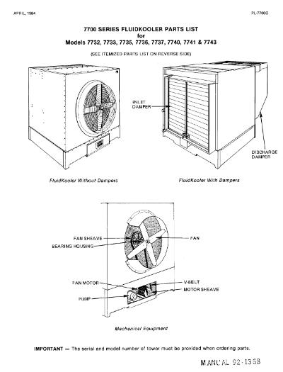 Marley Series 7700 FluidKooler Parts List – Non Current