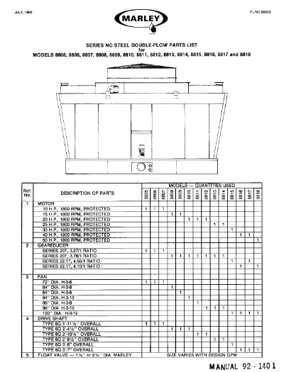 Marley Series 8800 NC Tower Parts List – Non Current