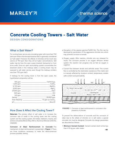 The Use of Cooling Towers for Salt Water Heat Rejection