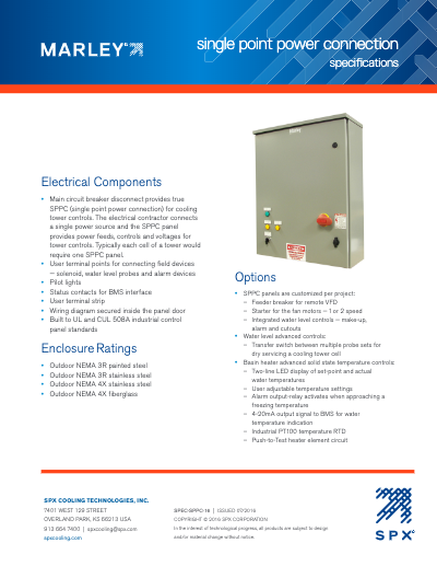 Marley Single Point Power Connection Panel Specifications