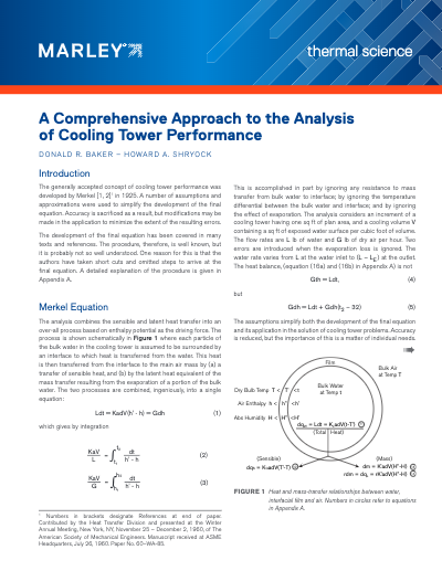 A Comprehensive Approach to the Analysis of Cooling Tower Performance