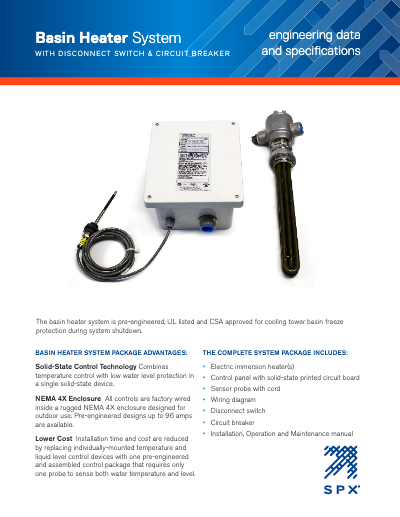 Basin Heater Package with Disconnect Switch – Circuit Breaker Engineering Data and Specifications