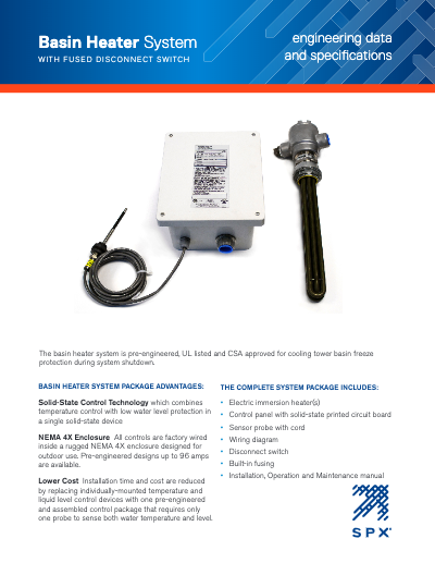Basin Heater Package with Fused Disconnect Switch Engineering Data and Specifications