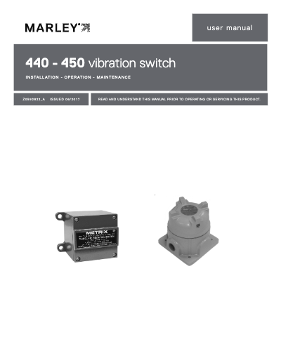 Marley 440-450 Vibration Switch User Manual