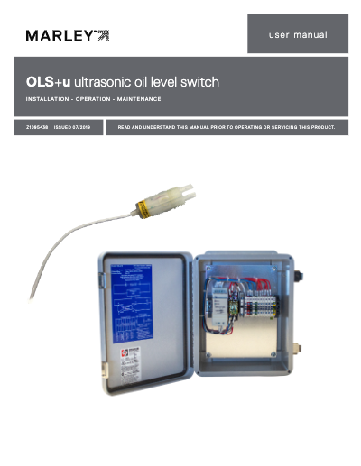 OLS Ultrasonic Oil Level Switch IOM User Manual