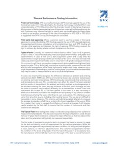 Thermal Performance Testing Information