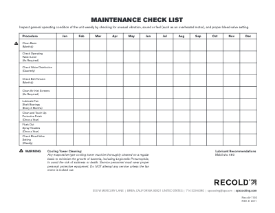 Recold Maintenance Checklist